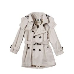 BURBERRY - COTTON GABARDINE TRENCH COAT  Double breasted front button closure. Detachable hood with check lining. Belted waist and cuffs. Center back vent. Check lining. Checked pattern may vary slightly. #burberry #coat #fashion