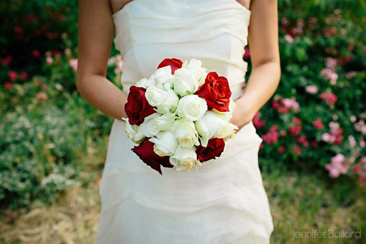 Wedding bouquet white and red roses