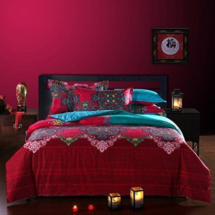FADFAY Bohemian Style Duvet Covers Bedding Set Full Size Boho Bedding 4 Pieces
