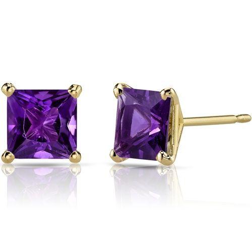 Fine Jewelry Emerald-Cut Genuine Amethyst 14K Yellow Gold Earrings G25HYW1