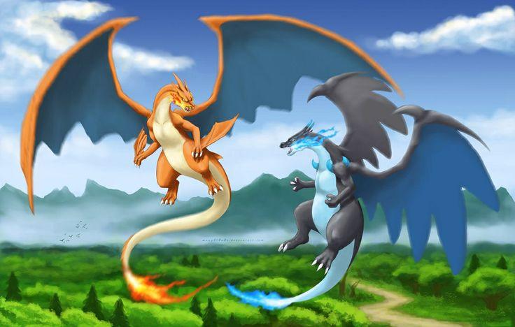 Mega Charizards - digital, art, anime, pokemon, mega, dark charzaid, orange, blue, black, sky, fire, type, dragon, TV, show
