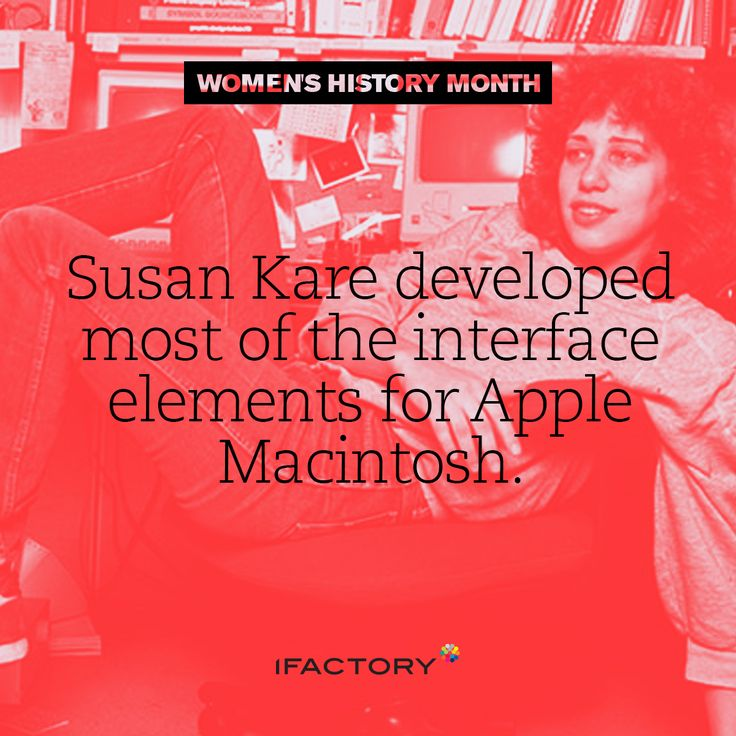 Susan Kare developed most of the interface elements for Apple Macintosh. #WomensHistoryMonth #InternationalWomensDay #IWD #AdaLovelace#ifactory #ifactorydigital