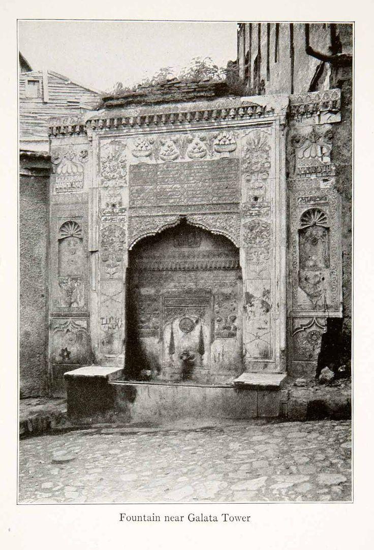 1926 Print Ottoman Fountain Galata Kulesi Tower Constantinople Istanbul XGXA3 - Period Paper