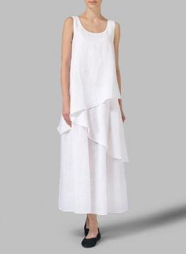 Linen Sleeveless Layered Lightweight Dress