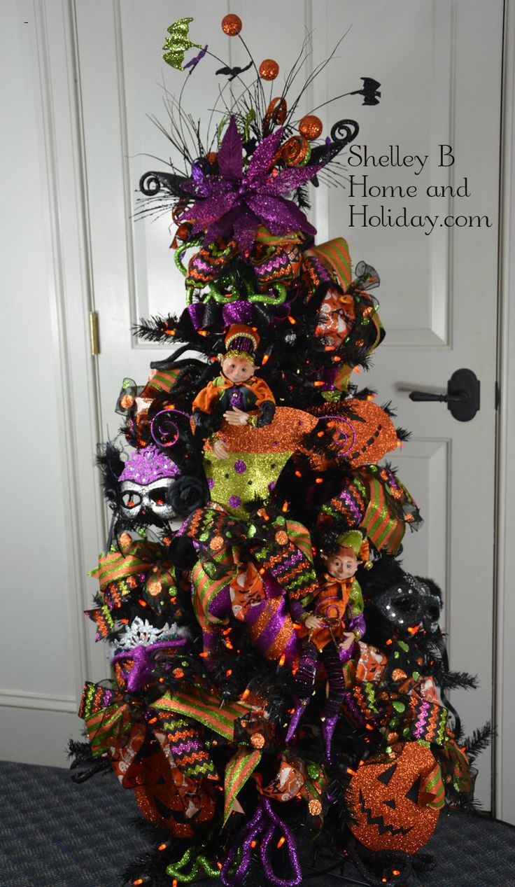 halloween tree ornament kit elves witch boot - Halloween Christmas Decorations
