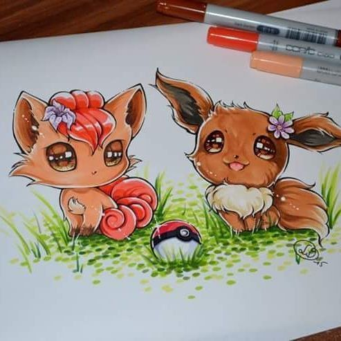 Some random cuties to sweeten your day :) It's springtime - why stay in the Pokéball if the weather is sunny and clear!? <3  #pokemon #vulpix #eevee #pokeball #cute #kawaii #evoli #evolve #game #gaming #gamefreak #nintendo #lighanesartblog #lighane #copic #marker #copicmarker #traditional #art #artist #manga #anime