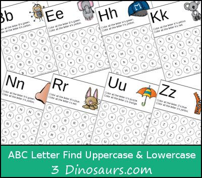 3 Dinosaurs has a FREE ABC Letter Find for upper and lower case letters. This free pack contains 26 pages!    Click here for more free preschool r