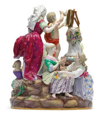 'The School of Love', large group modelled in-the-round, to the centre Cupid with arrow in his right hand, reading from the book of love, behind him an elegant lady in Baroque dress, to obverse young lady and 2 girls, verso 2 young ladies in conversation. H 29 cm, small chips, Meissen, underglaze blue sword mark 1st half of 19th cent., model F 47, former no. 28, painter no. 17. Wien, Dorotheum, 22.04.15, no. 902.
