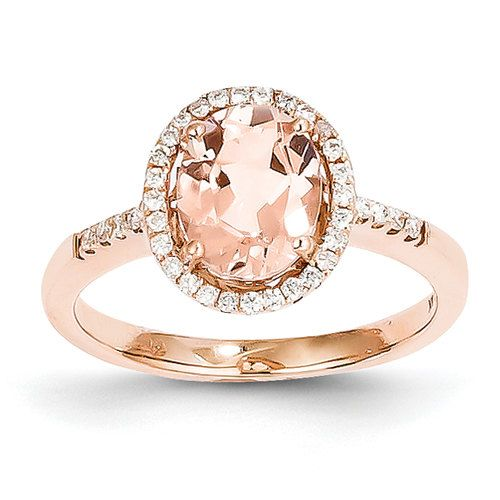 Unique Morganite Diamond Oval Halo Antique Vintage 14K Rose Gold by LyonsJewe