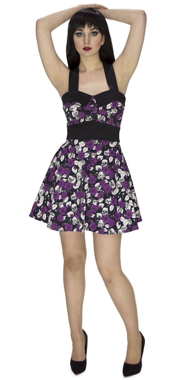Mc Queen Violet Purple Skulls and Roses Dress