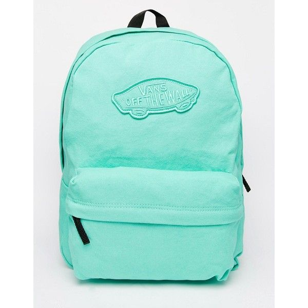Vans Realm Backpack in Mint Green ($46) ❤ liked on Polyvore featuring bags, backpacks, green, mint green backpack, green bags, vans bag, blue bag and green backpack