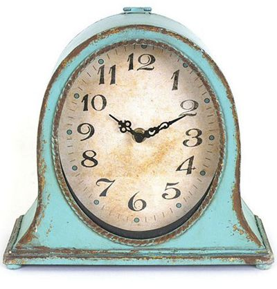 Bring Vintaged Flair To Your Living Room Mantel Or Study Bookshelf With  This Metal Table Clock, Showcasing An Aqua Finish And Distressed Details.