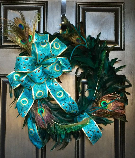 CHRISTMAS PEACOCK WREATHS ~ CHRISTMAS WREATHS FEATHERY PEACOCK DOOR WREATH YEAR ROUND Home Decor WREATH Turquoise Wreath ~ Peacock Theme Wreaths Wedding Decor ~ Floral Decor Housewarming or Wedding Gift Features Assorted Mix of Peacock Feathers Beautiful 2 1/2 Peacock Theme Ribbon