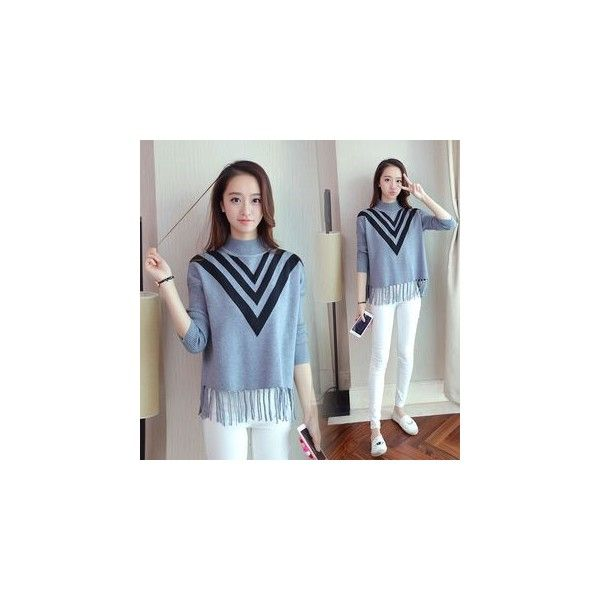 Chevron Mock Neck Fringed Sweater (383.935 IDR) ❤ liked on Polyvore featuring tops, sweaters, sweatshirt, women, blue top, knit fringe sweater, knit sweater, mock neck sweater and blue knit top