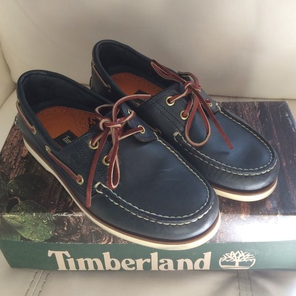 MENS TIMBERLAND DECK SHOES Navy Blue Leather Timberland Deck Shoes. Only worn a couple of times. Excellent shape. Timberland Shoes Flats & Loafers