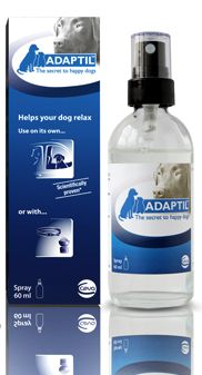 "Adaptil Spray - A natural ""canine appeasing pheromone"" proven to comfort dogs in stressful situations"