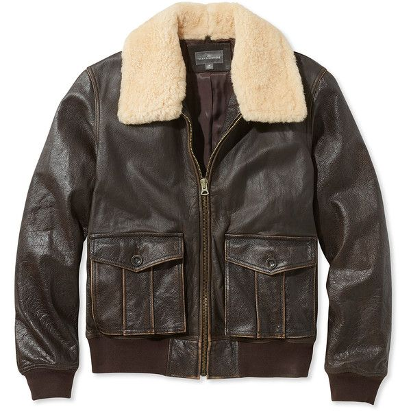 L.L.Bean Signature Signature Leather Jacket, Sherpa Collar ($449) ❤ liked on Polyvore featuring men's fashion, men's clothing, men's outerwear, men's jackets, mens sherpa lined flannel jacket, mens leather flight jacket, mens bomber jacket, mens slim fit jacket and mens zip up jackets