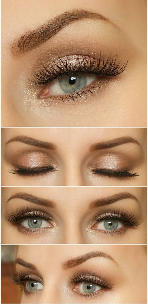 Mooie natuurlijke make-up voor blauw, grijze ogen.