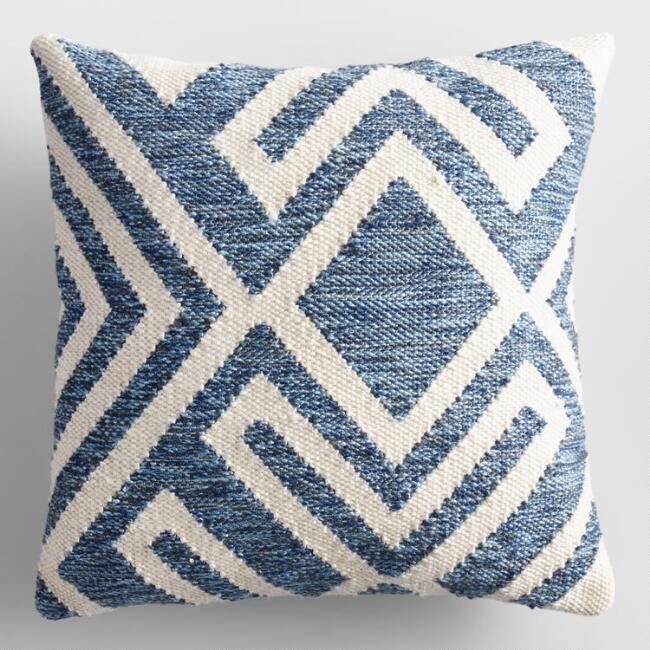 Our Exclusive Throw Pillow Features A Textured Blue Geometric Design Against A Cream Background Blue Outdoor Pillows Outdoor Throw Pillows Outdoor Pillows