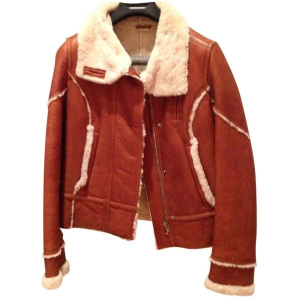 Pre-owned Timberland Sheepskin Jacket (8,975 MXN) ❤ liked on Polyvore featuring outerwear, jackets, camel, camel bomber jacket, red bomber jacket, timberland jacket, red jacket and sheepskin jacket