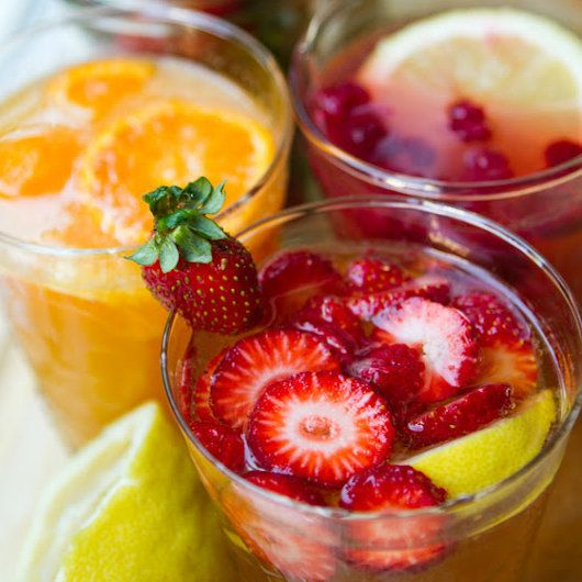 Agua Frescas A trio of fruity agua frescas in strawberry lemon, citrus peach, and coconut raspberry lemon make a nonalcoholic substitute for sangria. Choose your favorite or offer up all three.