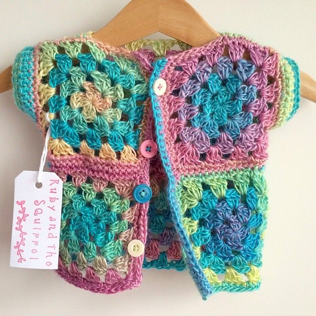 Something a bit different! What do you think? Little lightweight cardigan made with a super soft wool in a gorgeous array of colours. (Will post pic of the back too)