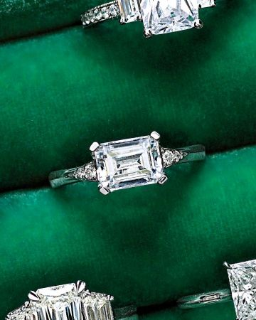"Horizontal-Set Emerald-Cut Diamond Engagement Ring  ~~  Horizontal-Set Emerald-Cut Diamond Engagement Ring  ~  For a twist, choose a horizontally set emerald cut, like MaeVona's ""Eorsa"" (maevona.com)."