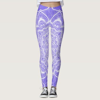 Purple Chakra Blossom boho new age spiritual Leggings - diy individual customized design unique ideas