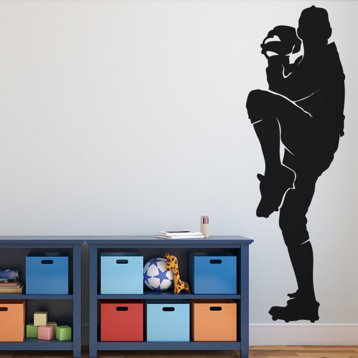 This BASEBALL Pitcher Wall art DECAL is life size and will be a fun conversation piece in your home.  Our vinyl decals are simple and easy to install.  Get yours here: https://www.etsy.com/listing/399405355/baseball-pitcher-wall-art-decal