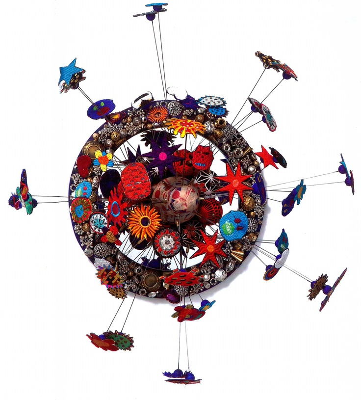 Michael Brennand-Wood, Vase Attacks wall installation, found objects, acrylic, collage, fabric, wire, machine embriodery, 2008
