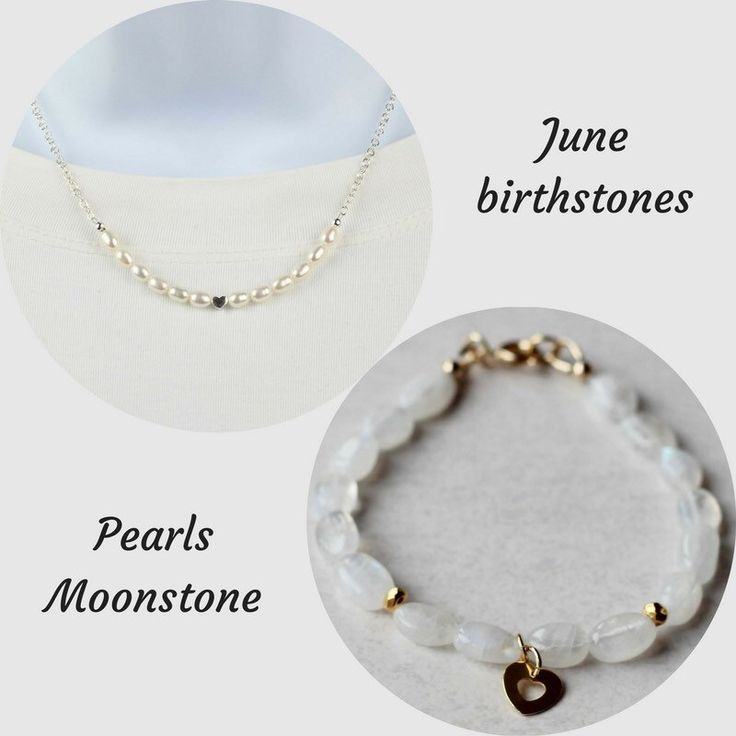 June Birthstones - Pearls are said to give the wearer a sense of calmness and centeredness and to promote faith, loyalty, truth and purity. Moonstone is often considered to be a woman's stone and is associated with the feminine.