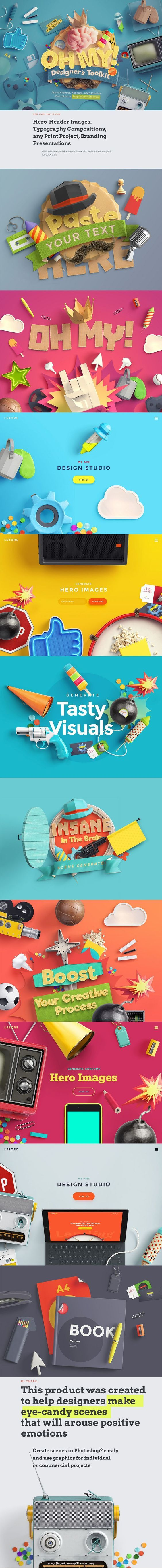 Oh My! Stunning Designer's Toolkit > This product was created to help designers make eye-candy #scenes that will arouse positive emotions. Hero-header images, typography compositions, any print projects, branding presentations. Create daring #logos and typography compositions using elements of our Logo Creator. #graphics:
