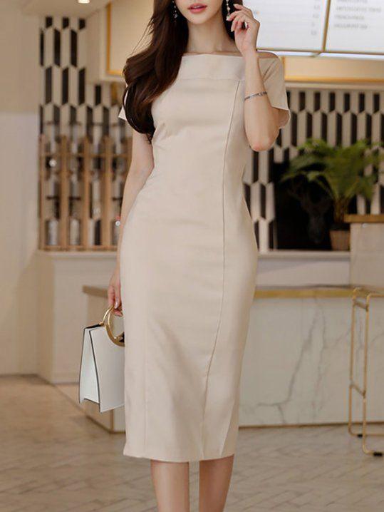 693de0829e324 Bateau boat neck Apricot Sheath Date Elegant Short Sleeve Slit Solid Midi  Dress