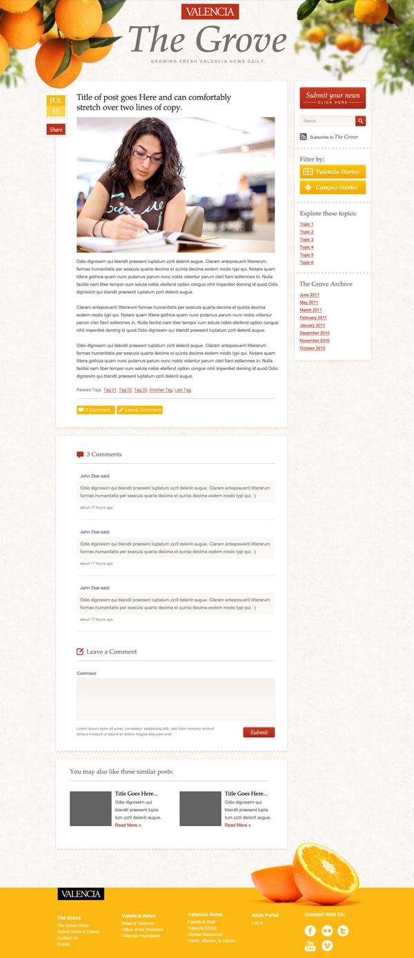 Valencia Page design for an internal blog (Mark Unger)