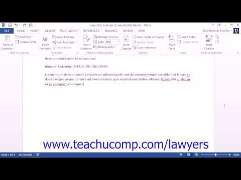Learn about Inserting Footnotes and Endnotes in Microsoft Word for Lawyers at www.teachUcomp.com. Get a FREE trial at http://www.teachucomp.com/lawyers  Visit us today!