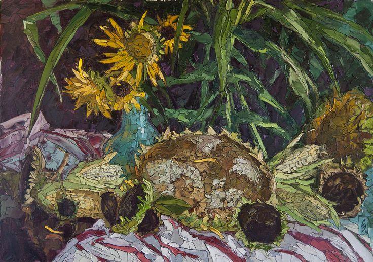 Натюрморт с подсолнухами и кукурузой