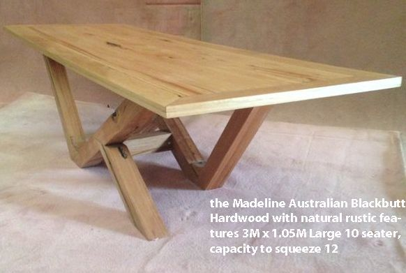 the Madeline Australian Blackbutt Hardwood with natural rustic features 3M x 1.05M Large 10 seater Dining Table with the capacity to seat 12 One-off display piece on sale reduced to $1300.00 o.n.o. at www.timberfloors.com.au or phone 02 9756 4242