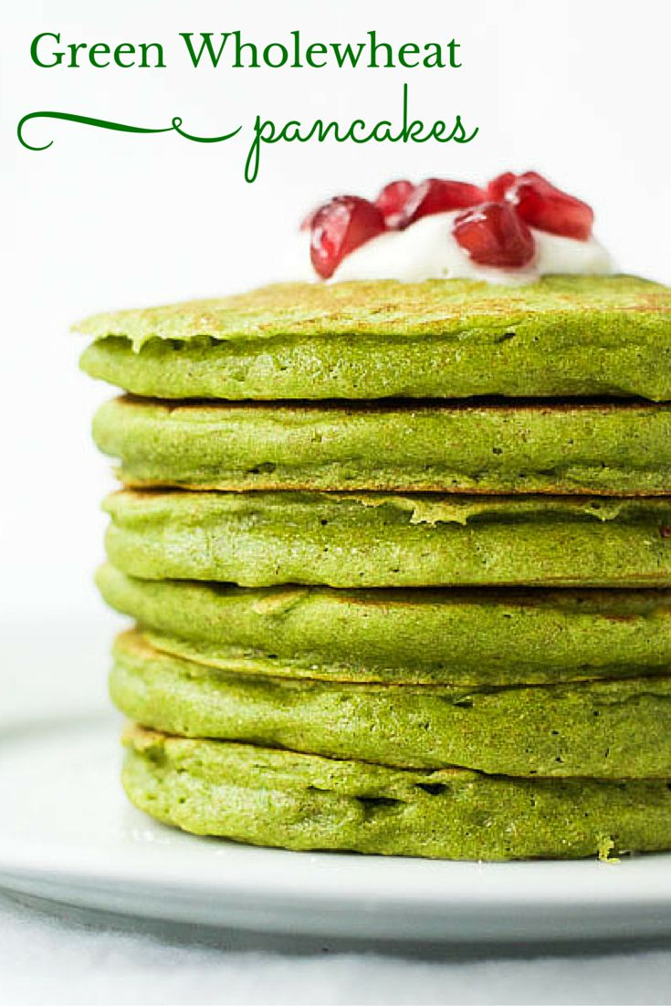 Healthy green wholewheat pancakes