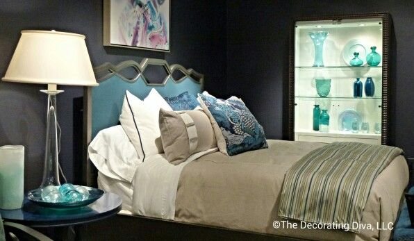 Beautiful blue headboard and bedroom furniture from Century Furniture. Spotted at High Point Market Fall 2013. #HPMKT: Blue Headboard