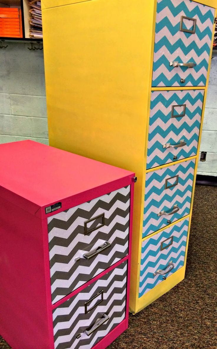 Sew Much Music- Filing cabinet makeover tutorial for your classroom! With chevrons!