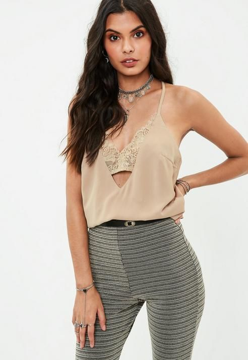 Missguided Camel Lace Insert Cami Top
