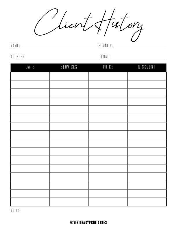 Client History Sheet Hair Stylist Nail Technician Etsy Small Business Planner Business Printables Business Checklist