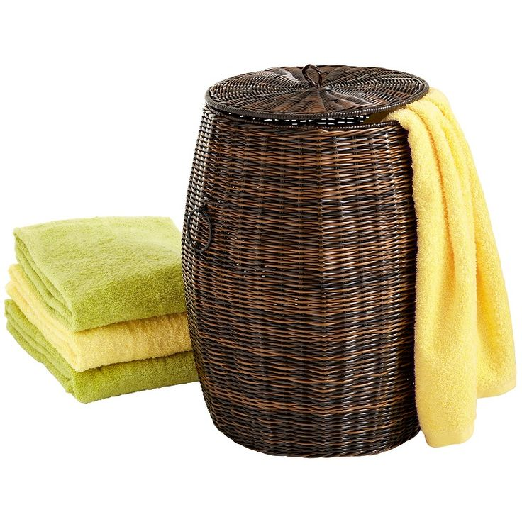 Synthetic wicker is ideal for laundry hampers because it's not only breathable like all woven wicker, but it's also moisture-resistant