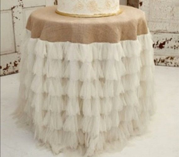 Love This Table Cloth. Ivory Petals And Burlap Tablecloth   Vintage  Weddings.