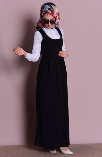 Sefamerve, Düğmeli Jile Elbise 2115-05 Siyah