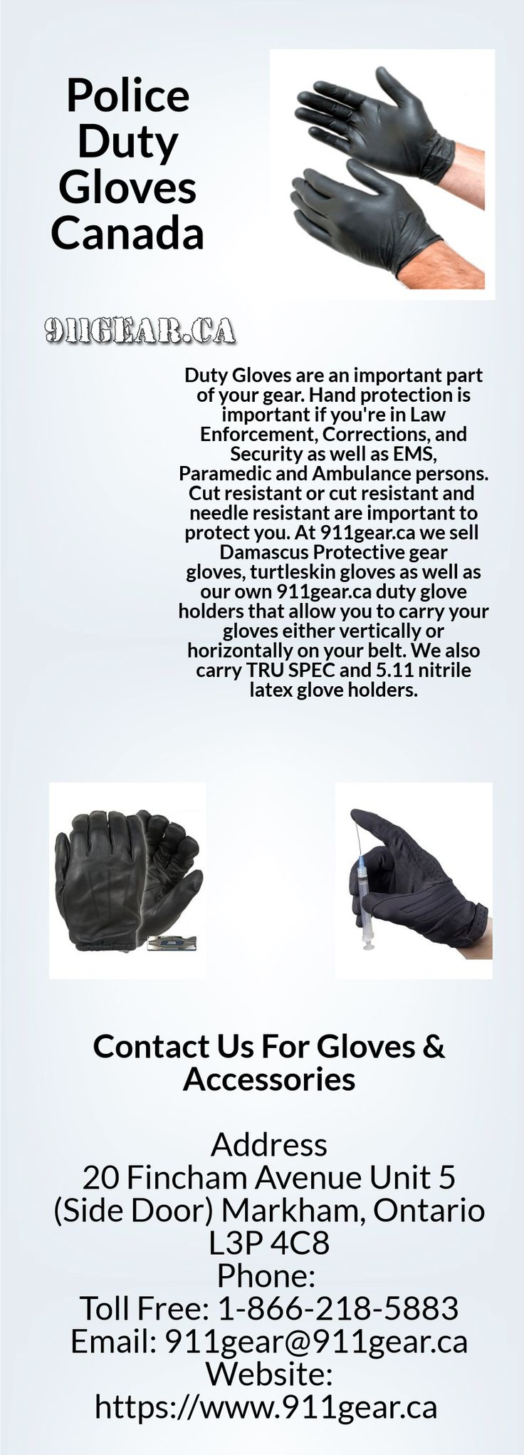 911Gear.ca builds Damascus Protective Law Enforcement Gloves, Police Duty Gloves and tactical gloves for police officers at best prices. Order today! https://www.911gear.ca/gloves-accessories-c-102.html