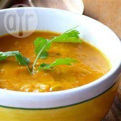 Delicious, easy to make Thai spicy coconut-pumpkin soup