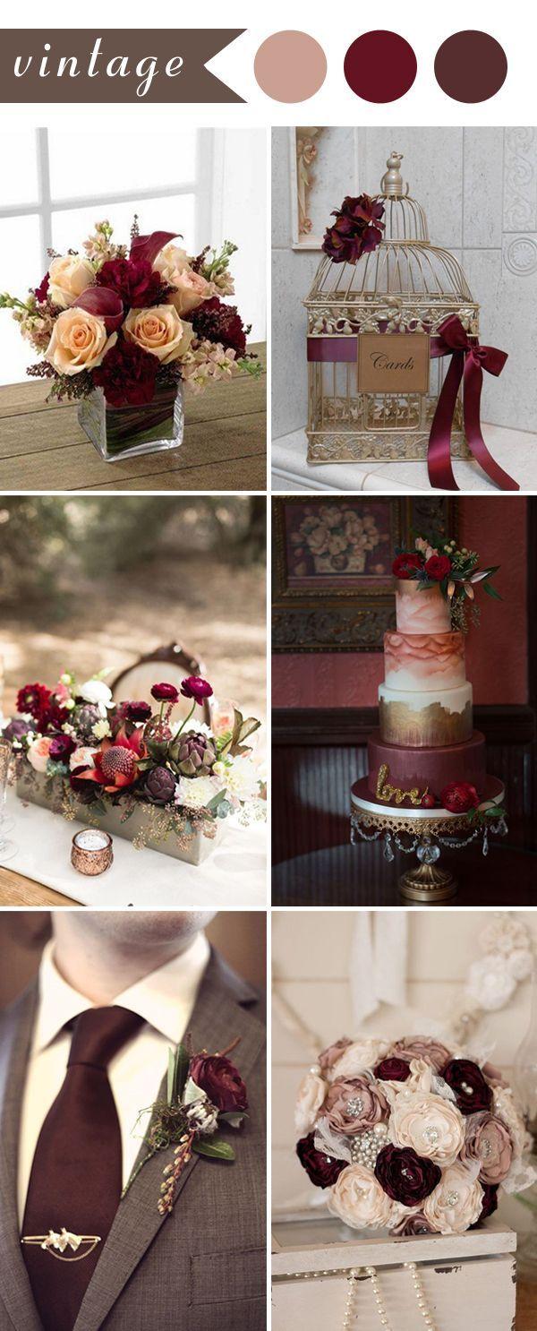 vintage wedding ideas in burgundy color for 2017