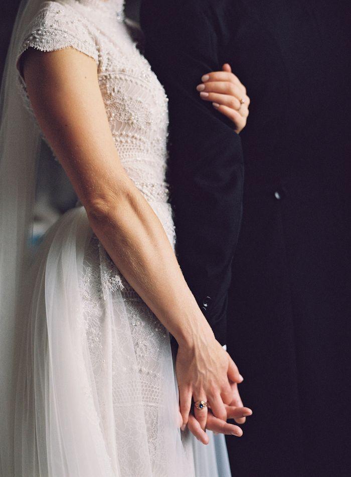 beautiful beaded cap sleeve wedding dress