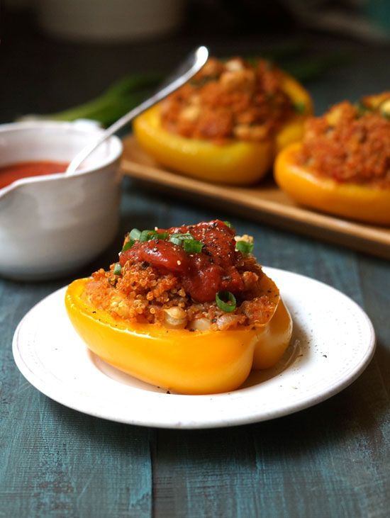 Quinoa Stuffed Peppers. An easy vegan meal that's loaded with complete protein!